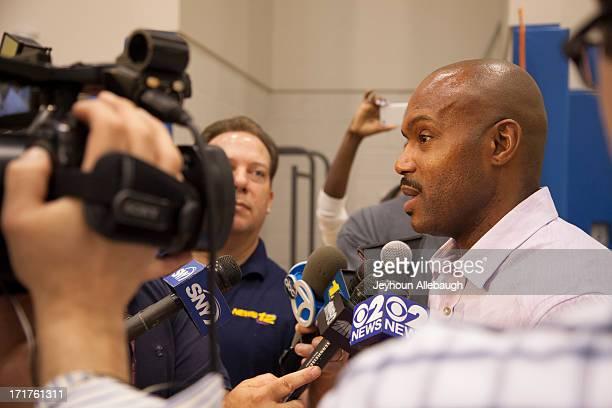 Tim Hardaway Sr speaks to the media as the New York Knicks introduce draft pick Tim Hardaway Jr at a press conference on June 28 2013 at the Knicks...