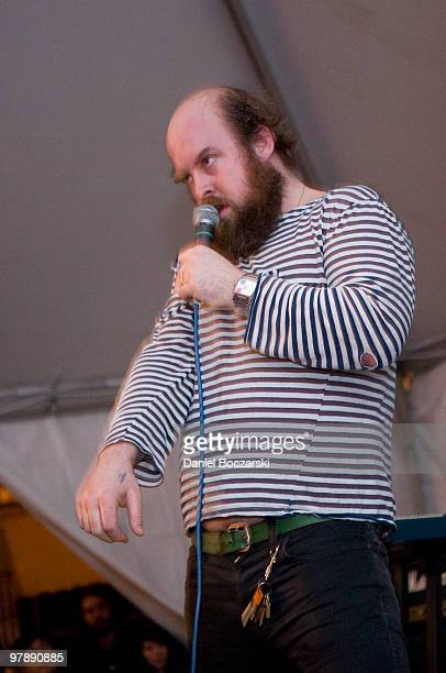 Tim Harrington of Les Savy Fav performs at The Galaxy Room during the third day of SXSW on March 19 2010 in Austin Texas