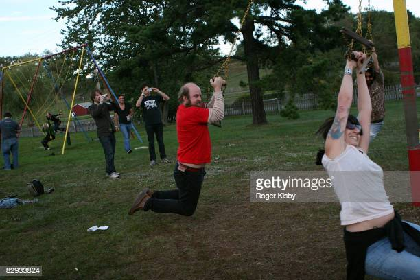 Tim Harrington of Les Savy Fav plays in the playground during the ATP New York 2008 music festival at Kutshers Country Club on September 20, 2008 in...