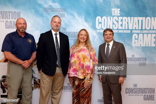 Tim Harrison, Michael Webber, Carole Baskin, and Congressman Mike Quigley attend a screening of THE CONSERVATION GAME at Eaton Hotel on June 24, 2021...