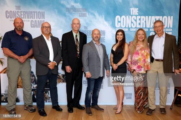 Tim Harrison, Russ Muntz, Jeff Kremer, Keith Gad, Carney Anne Nasser, Carole Baskin, and Howard Baskin attend a screening of THE CONSERVATION GAME at...