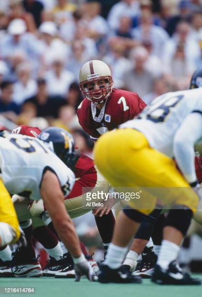 Tim Hasselbeck Quarterback for the Boston College Eagles calls the play at the snap during the NCAA Big East Conference college football game against...