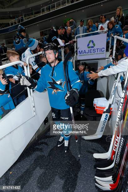 Tim Heed of the San Jose Sharks exits from the tunnel prior to the game against the Tampa Bay Lightning at SAP Center on November 8 2017 in San Jose...