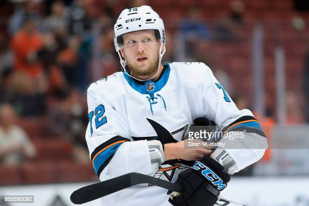 Tim Heed of the San Jose Sharks looks on during the third period of a preseason game against the Anaheim Ducks at Honda Center on September 28 2017...