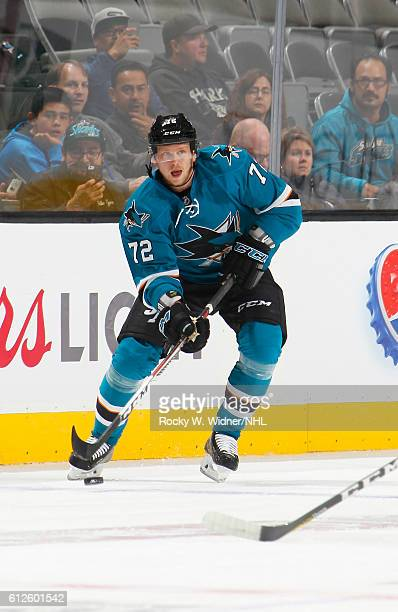 Tim Heed of the San Jose Sharks skates with the puck against the Arizona Coyotes at SAP Center on September 30 2016 in San Jose California