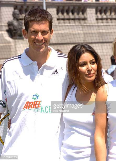Tim Henman and Laila Rouass during Ariel Celebrity Tennis Match June 13 2005 at Trafalgar Square in London Great Britain