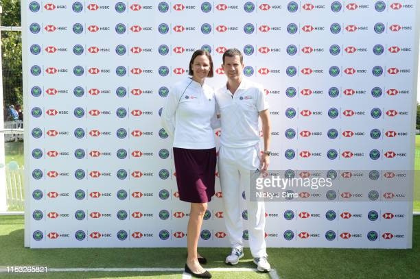 Tim Henman and Lindsay Davenport participate in a Wimbledon press conference with a twist on HSBC's Court 20 at Wimbledon on July 2 2019 in London...