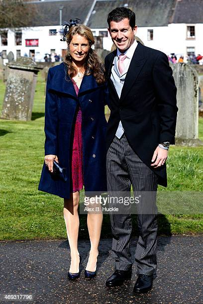 Tim Henman and Lucy Heald arrive at Dunblane Cathedral for the wedding of Andy Murray and Kim Sears on April 11 2015 in Dunblane Scotland