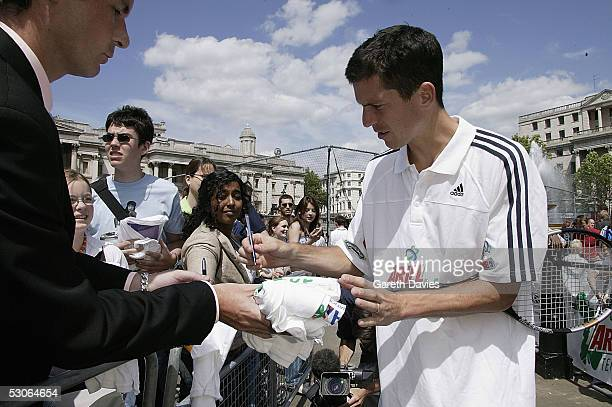 Tim Henman attends the Ariel Tennis Ace which aimed to find Britain's next young tennis star in Trafalgar Square on June 13 2005 in London It...