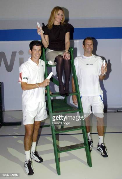 Tim Henman Gabby Logan and Greg Rusedski during Nintendo Wii UK Preview at ExCel Centre in London Great Britain
