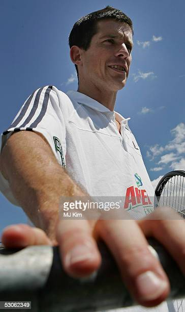 Tim Henman is interviewed at the Ariel Celebrity Tennis Match held in Trafalgar Square on June 13 2005 in London England