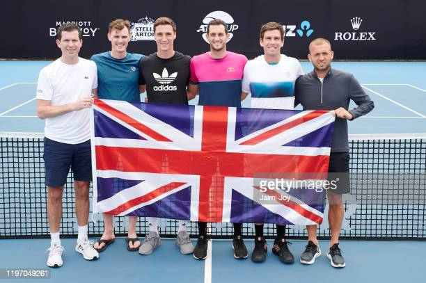 Tim Henman Jamie Murray Joe Salisbury James Ward Cameron Norrie and Daniel Evans of team Great Britain pose at ATP Cup media day ahead of the 2020...