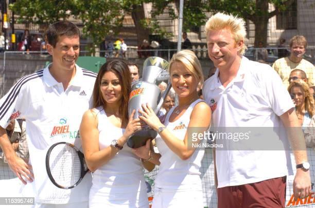 Tim Henman Laila Rouass Zoe Lucker and Boris Becker