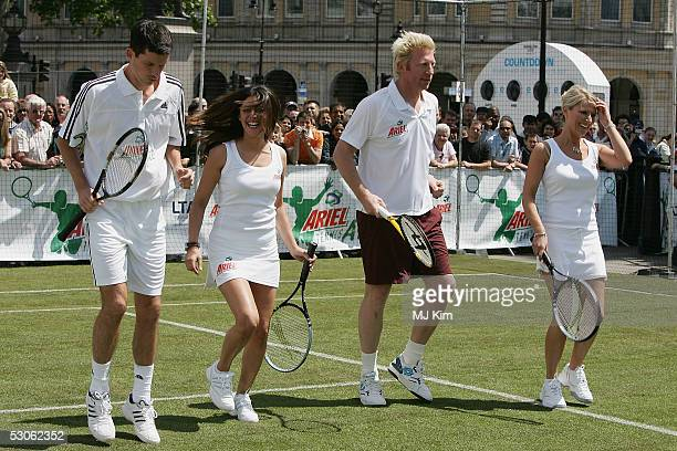Tim Henman Laila Rouass Zoe Lucker and Boris Becker warn up at the Ariel Celebrity Tennis Match held in Trafalgar Square on June 13 2005 in London...