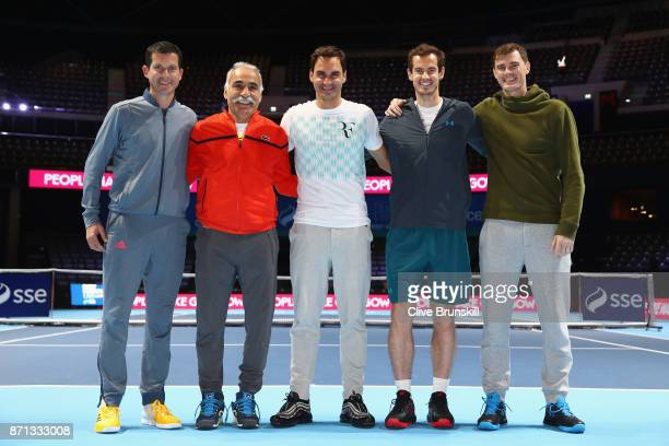 Tim Henman Mansour Bahrami Roger Federer Andy Murray and Jamie Murray pose for photos during Andy Murray Live at The Hydro on November 7 2017 in...