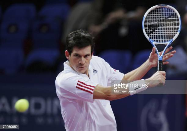 Tim Henman of Great Britain in action against Christophe Rochus of Belgium during the ATP Davidoff Swiss Indoors Tournament at St.Jakobshalle on...