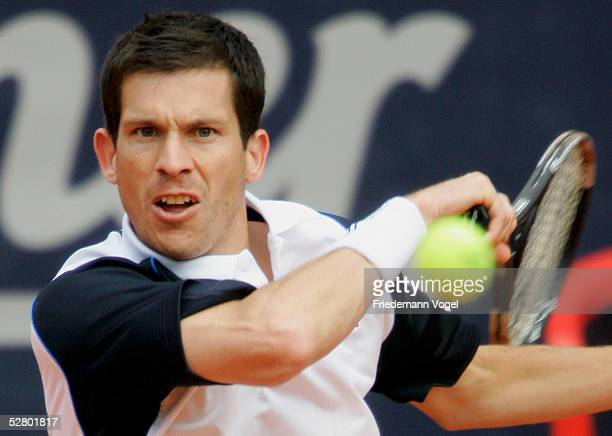 Tim Henman of Great Britain in action during his match against Juan Ignacio Chela of Argentina during the Masters Series Hamburg at Rothenbaum on May...