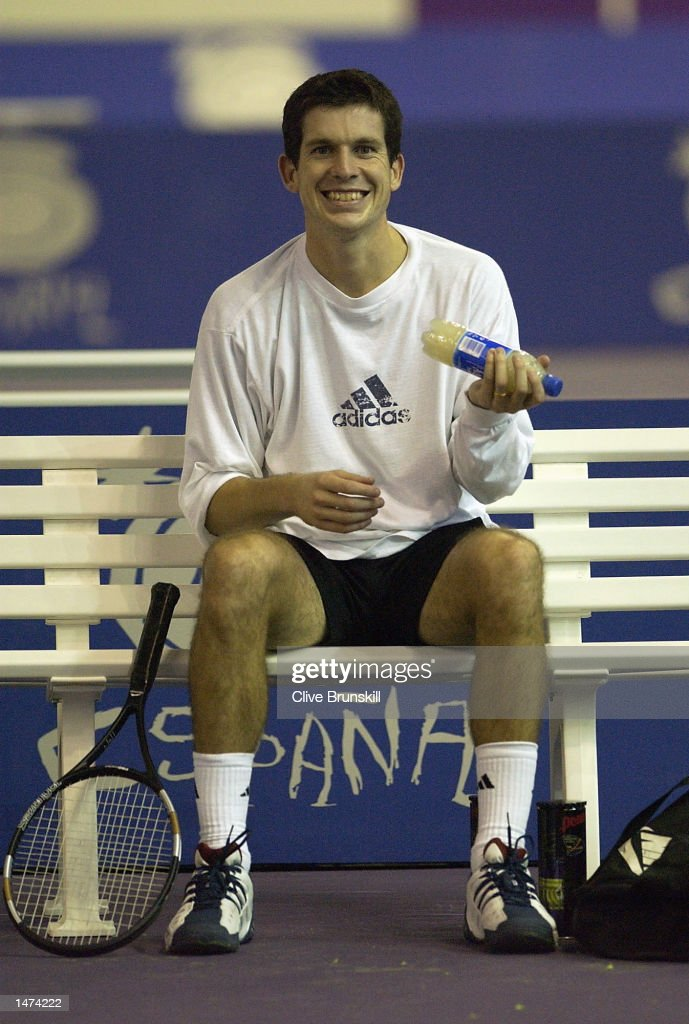 Tim Henman of Great Britain in good spirits during a training session,whilst he waits for news from his wife Lucy who is expecting the couples first child this week during the Tennis Masters Madrid at The Pabellon De Cristal, Madrid, Spain on October 14, 2002.