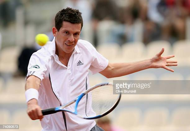 Tim Henman of Great Britain plays a backhand against Nicolas Almagro of Spain in their first round match during the ATP Masters Series at the Foro...