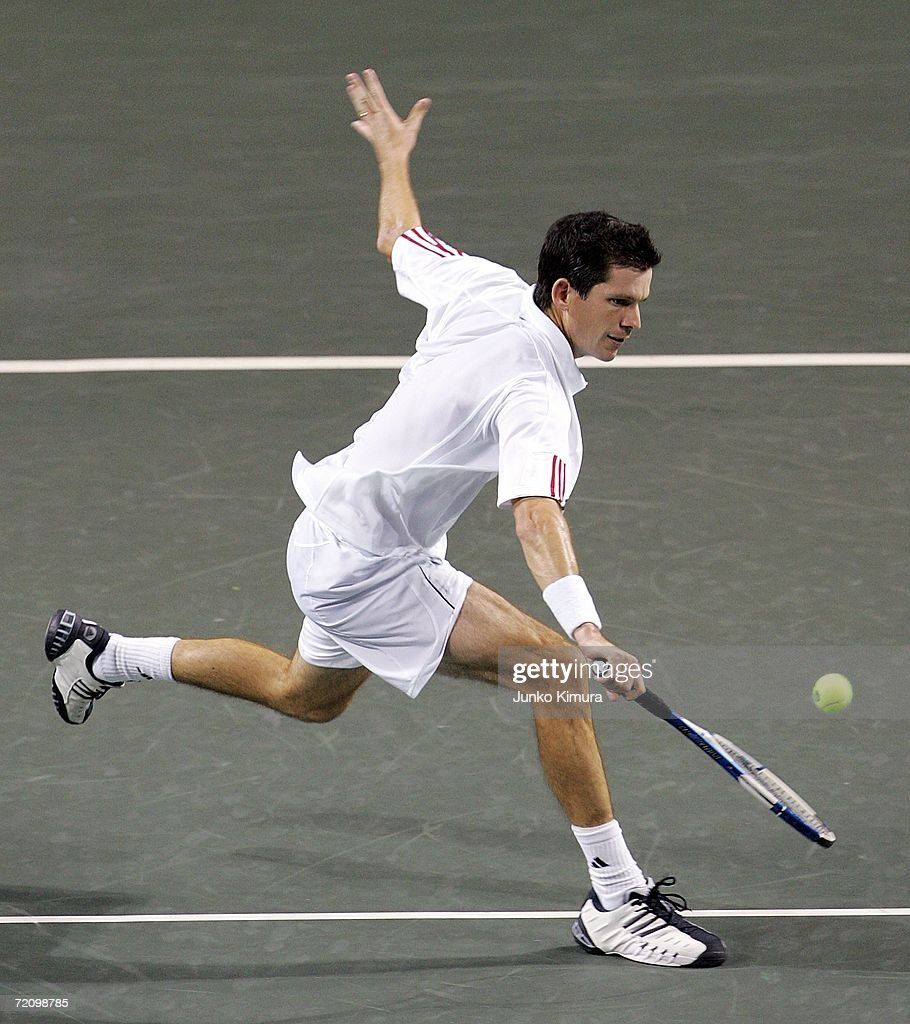 Tim Henman of Great Britain returns the ball against Juan Martin Del Potro of Argentina during the AIG Japan Open Tennis Championship 2006 on October 6, 2006 in Tokyo, Japan. Henman beat Del Potro by by 7-6, 6-3. The tournament takes place from October 2 to 8.