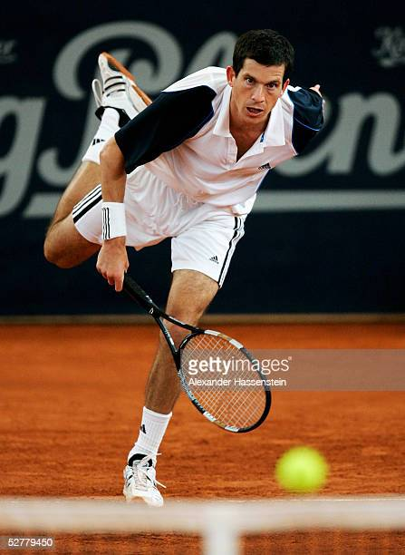 Tim Henman of Great Britian in action during is match against Lars Burgsmuller of Germany during the Masters Series Hamburg at Rothenbaum May 9 2005...