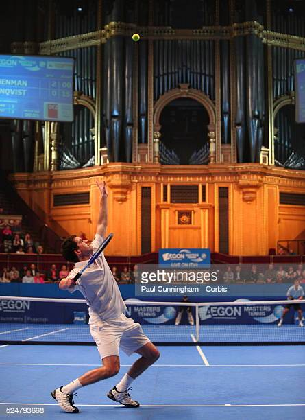 Tim Henman serves to Thomas Enqvist during the Quarter Final of the ATP Champions tour AEGON Masters Tennis at the Royal Albert Hall London 3...
