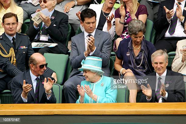 Tim Henman The Duke of Kent and Queen Elizabeth II applaud as Andy Murray of Great Britain beats Jarkko Nieminen of Finland on Day Four of the...