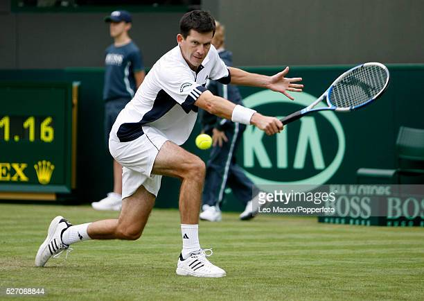 Tim Henman wins his last singles match before retiring as England's greatest player since Fred Perry, during the 2007 Davis Cup tie between Great...
