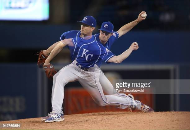 Tim Hill of the Kansas City Royals delivers a pitch in the eighth inning during MLB game action against the Toronto Blue Jays at Rogers Centre on...