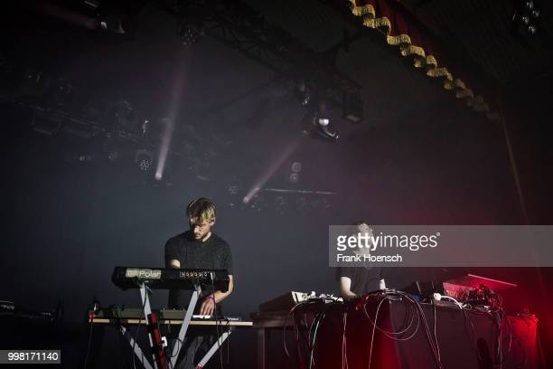 Richard Fearless of the British band Death in Vegas performs live on stage during a concert at the Festsaal Kreuzberg on July 13 2018 in Berlin...