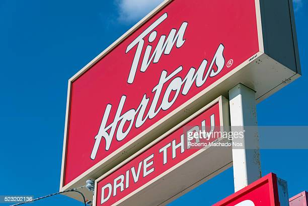 Tim Horton's drive through sign Tim Horton is known all over Canada for serving hot and delicious coffee specially in winter time