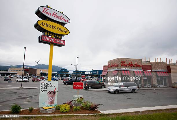 A Tim Hortons Inc restaurant location stands in downtown Kitimat British Columbia Canada on Friday June 5 2015 Canadian stocks rose a second day as...