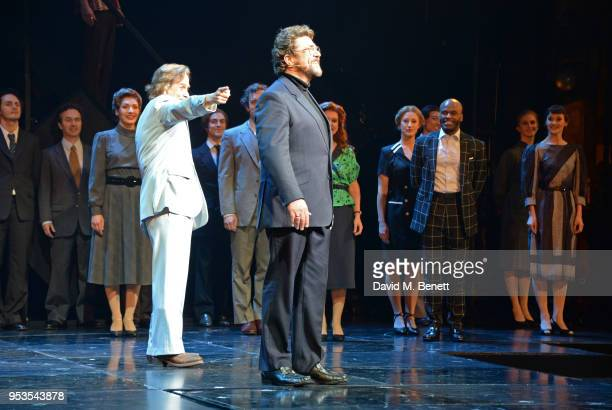 Tim Howar and Michael Ball bow at the curtain call during the press night performance of 'Chess' at The London Coliseum on May 1 2018 in London...