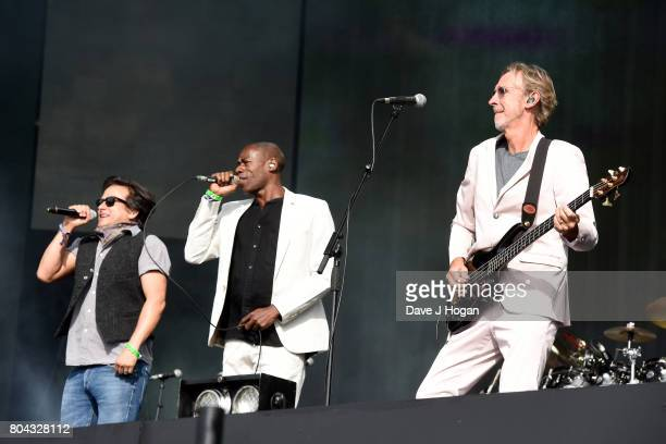 Tim Howar, Andrew Roachford and Mike Rutherford of Mike + The Mechanics perform on stage at the Barclaycard Presents British Summer Time Festival in...