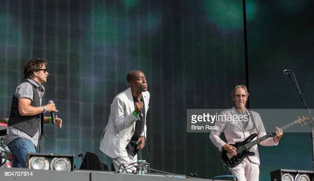 Tim Howar, Andrew Roachford and Mike Rutherford of Mike + The Mechanics perform on stage at Barclaycard British Summertime at Hyde Park on June 30,...