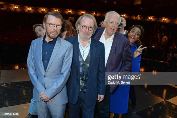 Tim Howar Bjorn Ulvaeus Benny Andersson Sir Tim Rice and Alexandra Burke pose onstage during the press night performance of 'Chess' at The London...