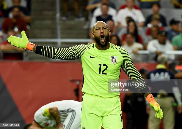 Tim Howard goalkeeper of the United States reacts after a corner kick during a third place match between United States and Colombia at University of...
