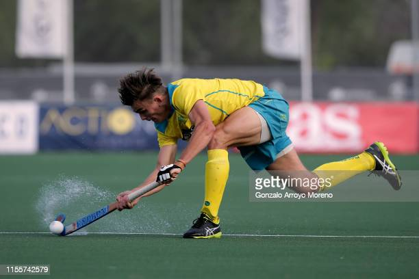 Tim Howard of Australia in action during the Men's FIH Field Hockey Pro League match between Spain and Australia at Club Villa de Madrid on June 13...