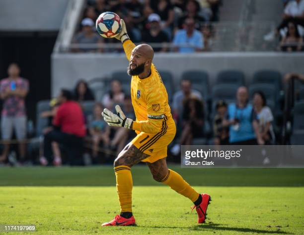 Tim Howard of Colorado Rapids during Los Angeles FC's MLS match against Sporting Kansas City at the Banc of California Stadium on October 6 2019 in...