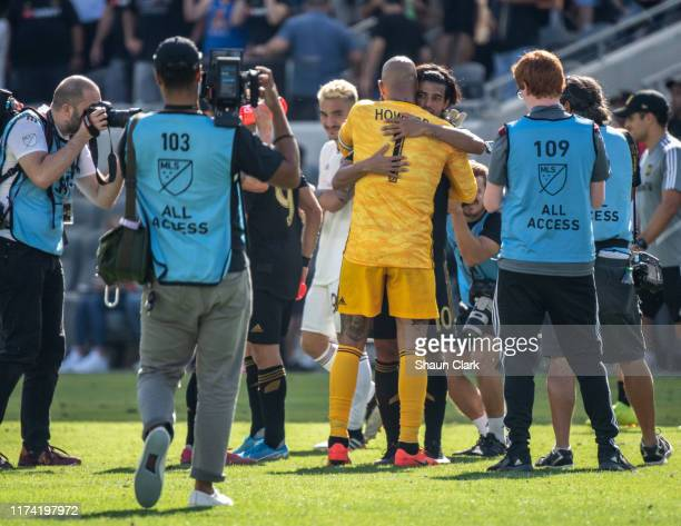 Tim Howard of Colorado Rapids embraces Carlos Vela of Los Angeles FC following Los Angeles FC's MLS match against Sporting Kansas City at the Banc of...