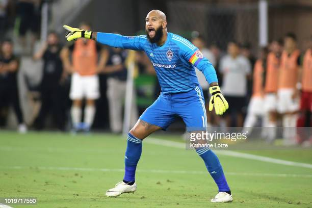Tim Howard of Colorado Rapids gives direction to teammates ahead of a free kick for the Los Angeles FC at Banc of California Stadium on August 19...