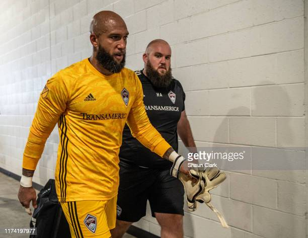 Tim Howard of Colorado Rapids leaves the pitch for retirement following Los Angeles FC's MLS match against Sporting Kansas City at the Banc of...