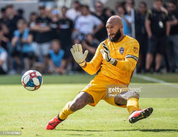 Tim Howard of Colorado Rapids makes the final save of his career during Los Angeles FC's MLS match against Sporting Kansas City at the Banc of...