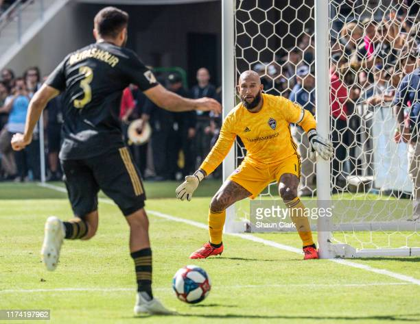 Tim Howard of Colorado Rapids stares down Steven Beitashour of Los Angeles FC during Los Angeles FC's MLS match against Sporting Kansas City at the...