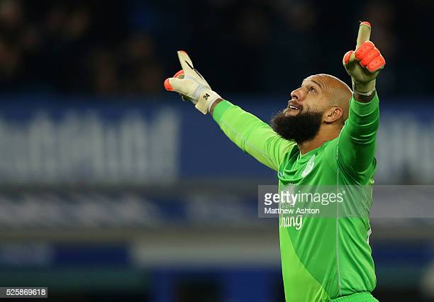 Tim Howard of Everton celebrates after his team scored to make it 30