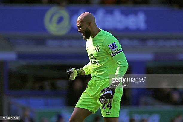 Tim Howard of Everton celebrates his team's second goal during the Barclays Premier League match between Everton and AFC Bournemouth at Goodison Park...