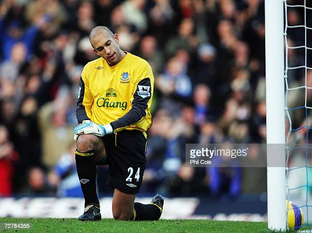 Tim Howard of Everton looks dejected after the second goal for Portsmouth during the Barclays Premiership match between Portsmouth and Everton at...