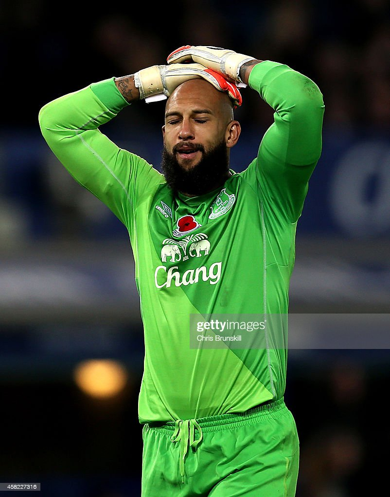 Tim Howard of Everton looks dejected during the Barclays Premier League match between Everton and Swansea City at Goodison Park on November 01, 2014 in Liverpool, England.
