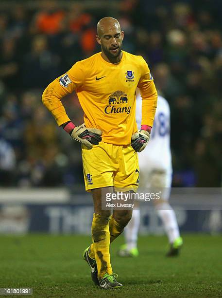 Tim Howard of Everton looks dejected during the FA Cup with Budweiser Fifth Round match between Oldham Athletic and Everton at Boundary Park on...