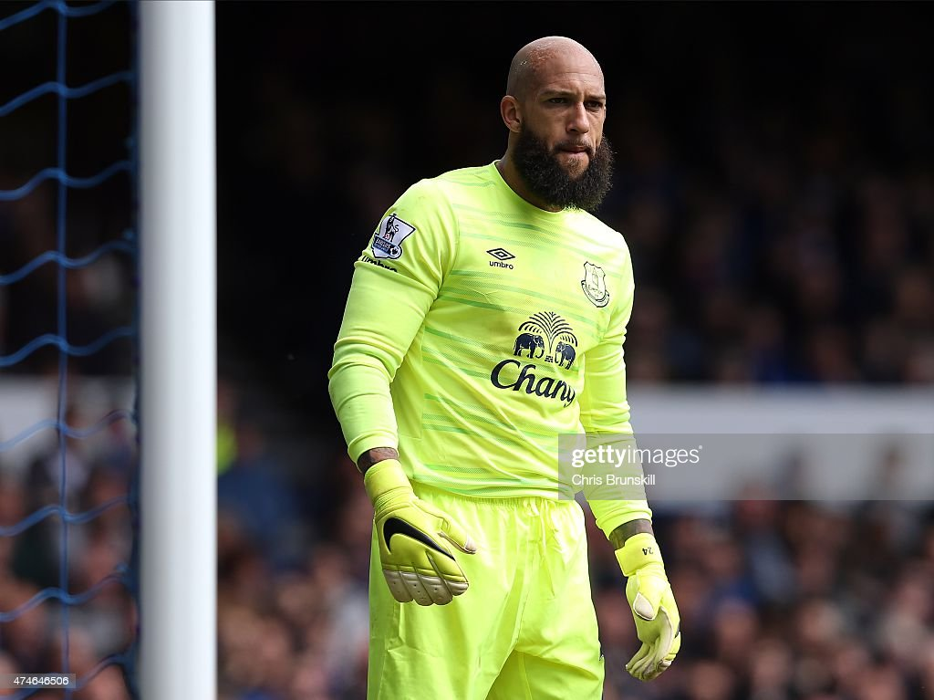 Tim Howard of Everton looks on during the Barclays Premier League match between Everton and Tottenham Hotspur at Goodison Park on May 24, 2015 in Liverpool, England.